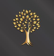 Tree plant gold image.Concept of abundance, wealth,good
