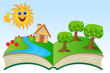 open book with summer landscape