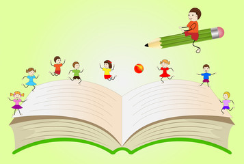 open book with playing children and boy, flying on a pencil