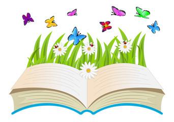 open book, flowers and butterflies