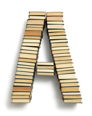 Letter A formed from the page ends of books