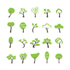 abstract tree icon set, vector eps10