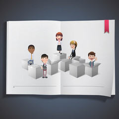 Business people with white boxes printed on book