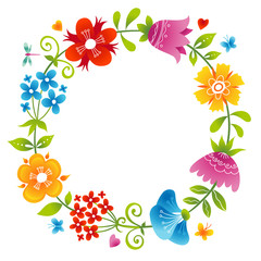 Bright wreath with colorful flowers.