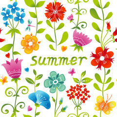 Bright pattern with colorful flowers, butterflies and dragonflie