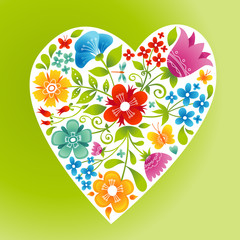 Romantic floral wallpaper with heart.