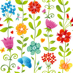 Bright spring seamless pattern with flowers.