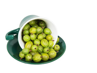 Gooseberries in an inverted green cup
