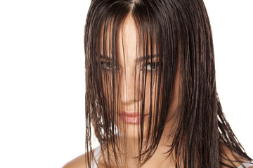 beautiful young woman posing with wet hair