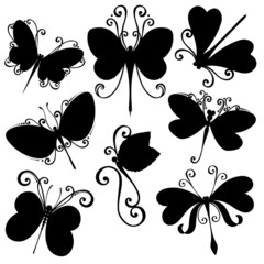 Vector Set of Dragonflies. Stencils Isolated on White Background