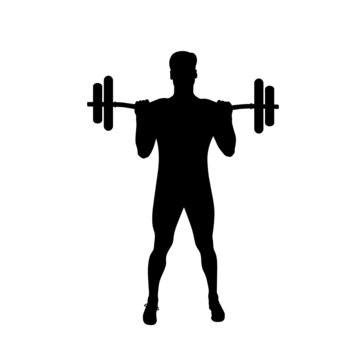 Weight Lifting Silhouette on white background