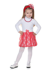 Little girl in the red skirt