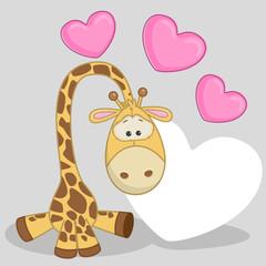 Giraffe with hearts