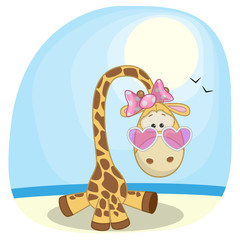 Giraffe on the beach