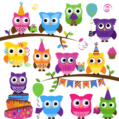Vector Collection of Party or Celebration Themed Owls