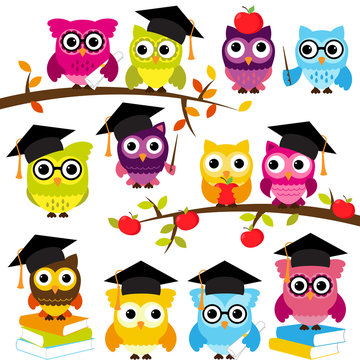 Vector Collection of School or Graduation Themed Owls