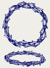 Crown of thorns. Doodle style