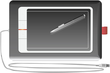 vector graphics tablet silver on a white background