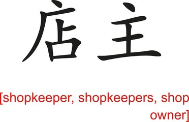 Chinese Sign for shopkeeper, shopkeepers, shop owner