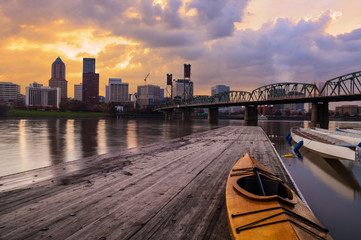 Fototapete - Sunset Landscape of Portland, Oregon, USA.