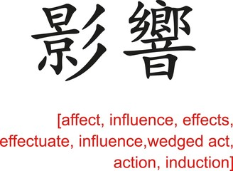 Chinese Sign for affect, influence, effects, effectuate, action
