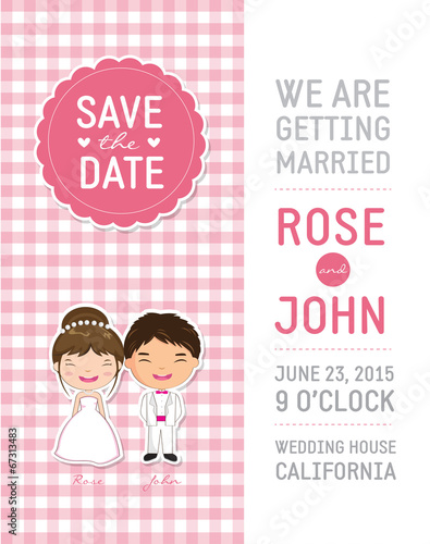 Cute Pink Wedding Invitation Template Card Stock Image And Royalty