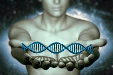 digital illustration 3dman and DNA