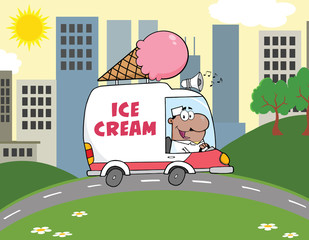 African American Ice Cream Man Driving Truck In The Town