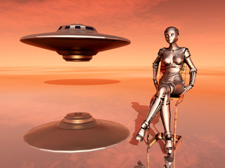 Spaceship and Female Robot
