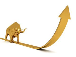 3d Bull with Business Arrow
