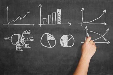 Hand writing graphs on blackboard