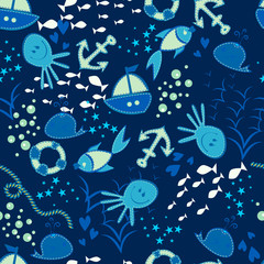 Seamless vector doodle sea pattern. Hand drawn background.