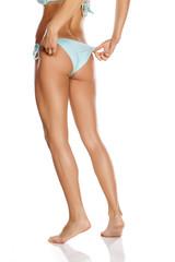 pretty women 's butt in blue bathing shorts