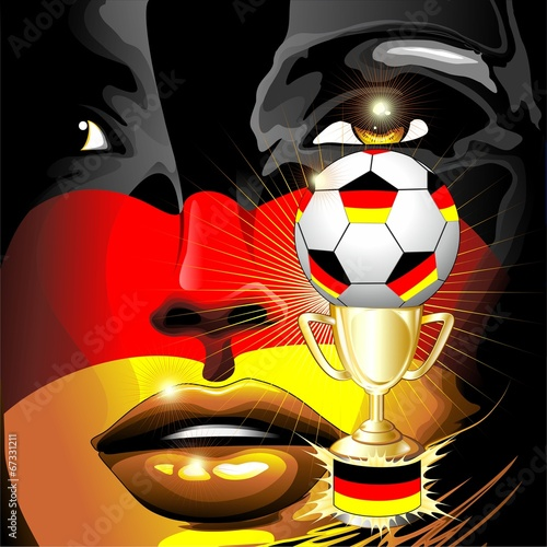 Germany Flag Football Champion Girl Portrait