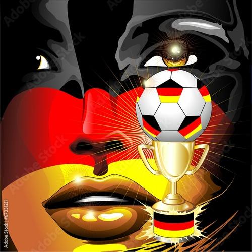 Germany Flag Football Champion Girl Portrait