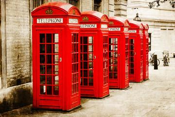 Fotomurales - antik texturiertes Bild roter Telefonzellen in London