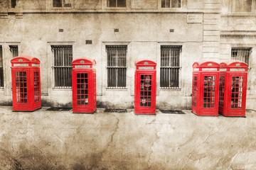 Fotomurales - nostalgisch texturiertes Bild roter Telefonzellen in London