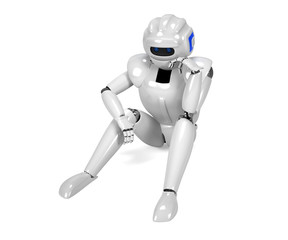 3D render of depressed android - isolated on white background