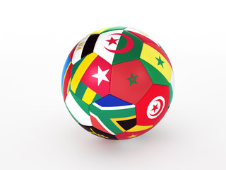 Soccer ball with flags of the African countries
