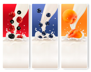 Three fruit and milk banners. Vector.
