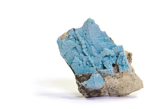 Glaucocerinite (Cu/Al/Zn mineral), Attica, Greece. 4.0cm high.