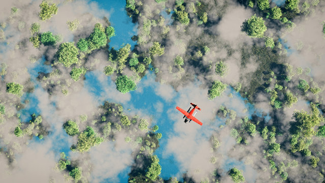 Aerial of red airplane flying over forest with lakes and clouds.