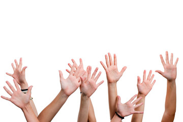 Human hands in the air.