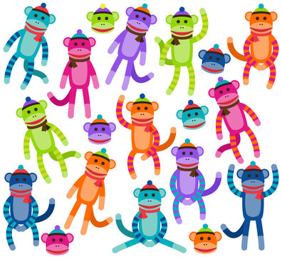Vector Collection of Cute and Colorful Sock Monkeys