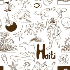 Sketch Haiti seamless pattern