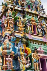 Hindu gods and demons on a temple, Sri Lanka