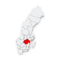 Map of Ostergotland. Sweden.