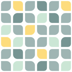 Abstract gray yellow rounded squares seamless pattern background