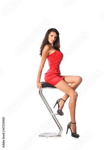 Quot Elegant Woman Sitting Contemporary Metal Bar Stool Quot Stock