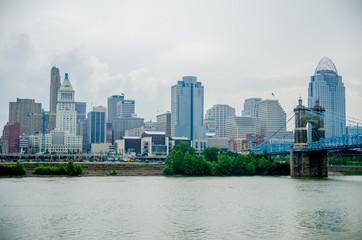 Cincinnati skyline and historic John A. Roebling suspension brid